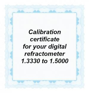 Foto: CAL-RI-15000: Calibration certificate for your handheld digital refractometer equipped with a refractive index scale in the range from 1.3330 to 1.5000