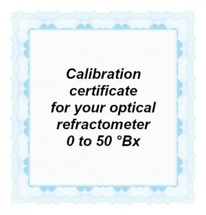 Foto: CAL-BRIX-50: Calibration certificate for your handheld optical refractometer equipped with a Brix scale in the range from 0 to max. 50 °Bx
