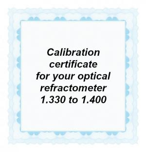 Foto: CAL-RI-1400: Calibration certificate for your handheld optical refractometer equipped with a refractive index scale in the range from 1.330 to 1.400